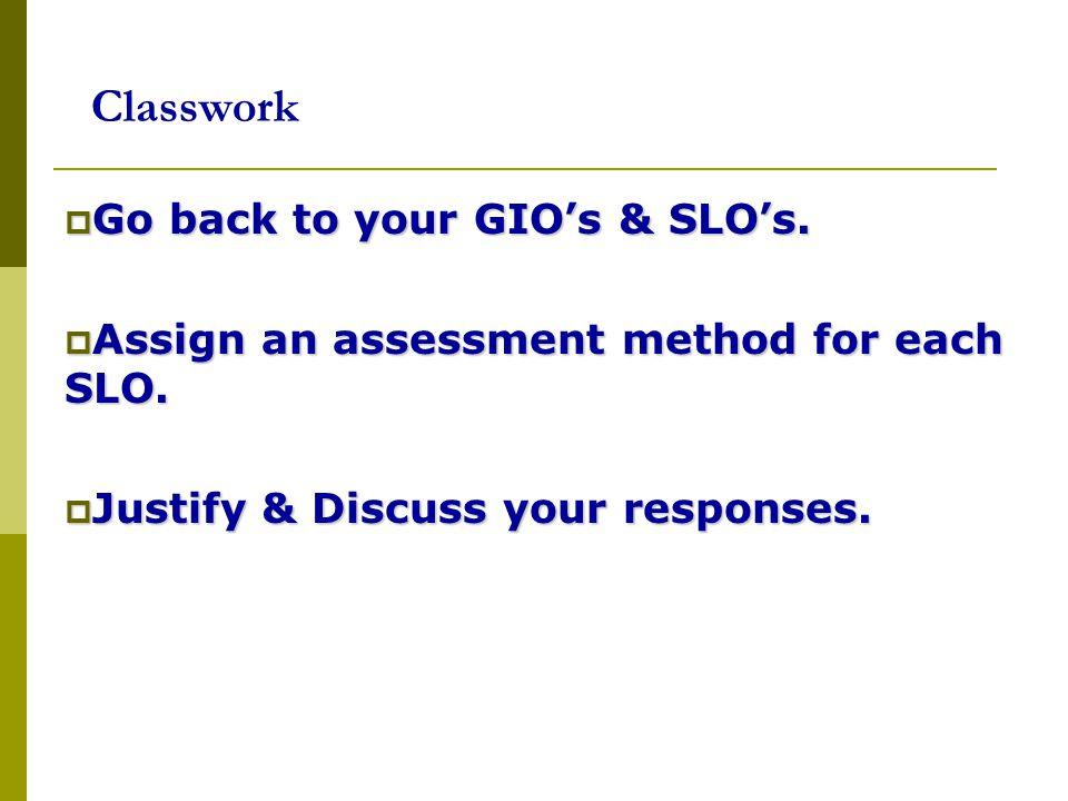 Classwork Go back to your GIO's & SLO's.