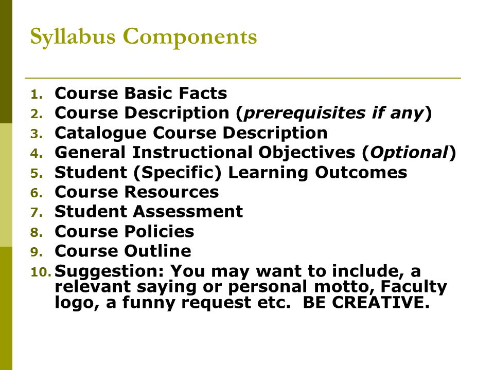 Syllabus Components Course Basic Facts