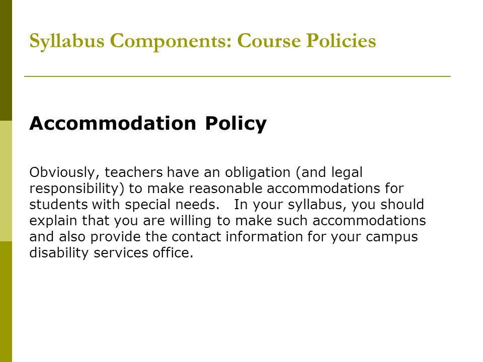 Syllabus Components: Course Policies