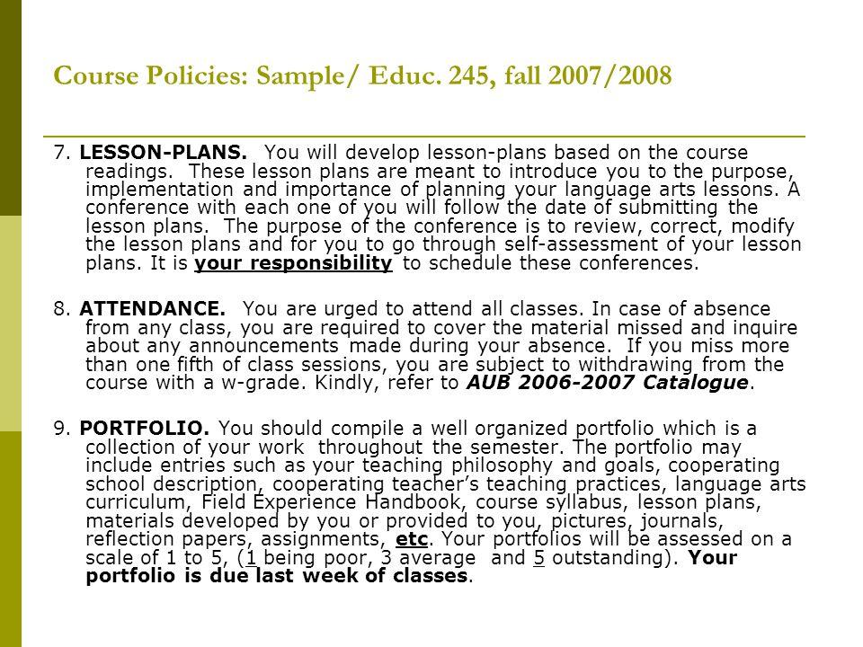 Course Policies: Sample/ Educ. 245, fall 2007/2008