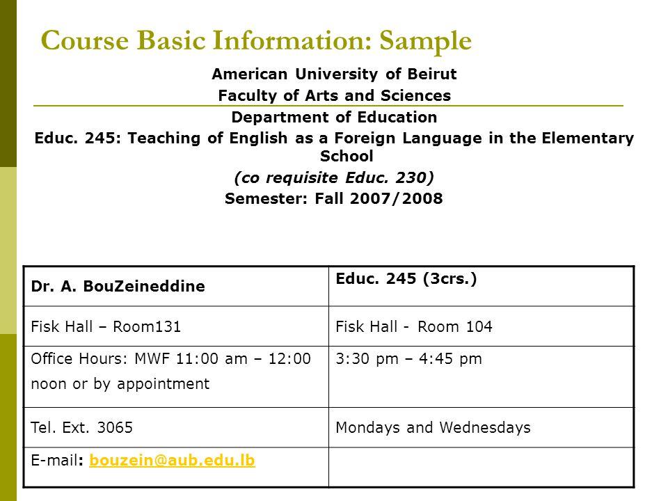 Course Basic Information: Sample