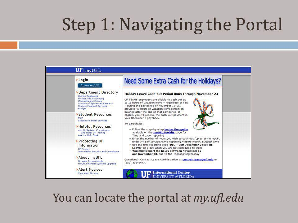 Step 1: Navigating the Portal