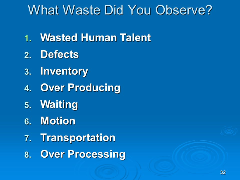 What Waste Did You Observe