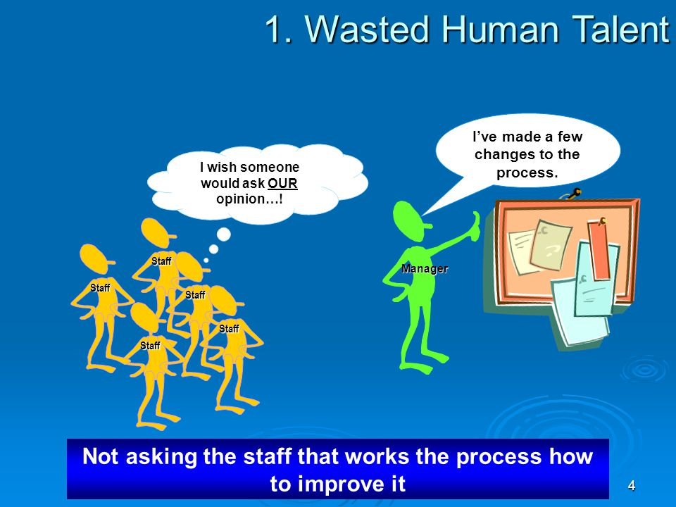 1. Wasted Human Talent I've made a few changes to the process. I wish someone would ask OUR opinion…!