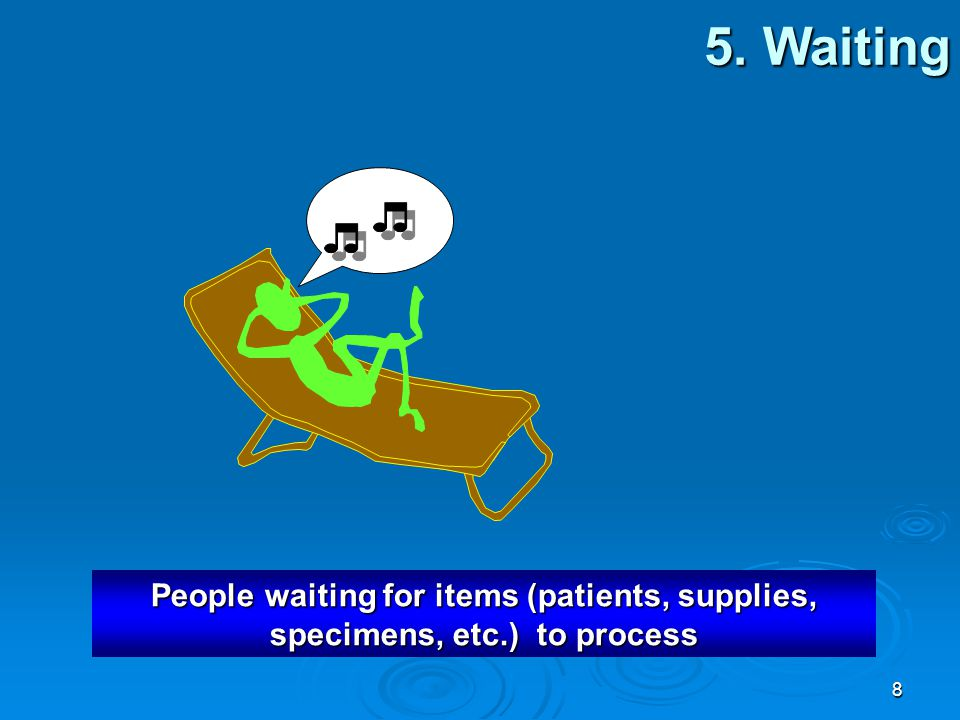 5. Waiting People waiting for items (patients, supplies, specimens, etc.) to process