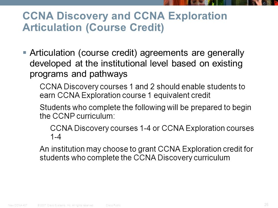 CCNA Discovery and CCNA Exploration Articulation (Course Credit)