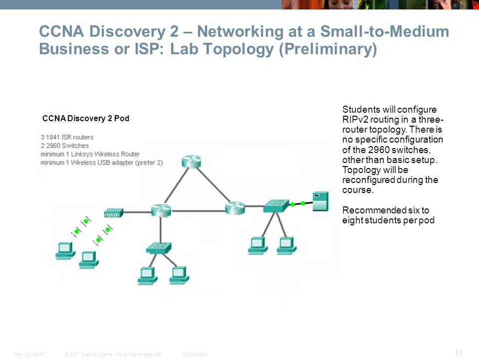 CCNA Discovery 2 – Networking at a Small-to-Medium Business or ISP: Lab Topology (Preliminary)