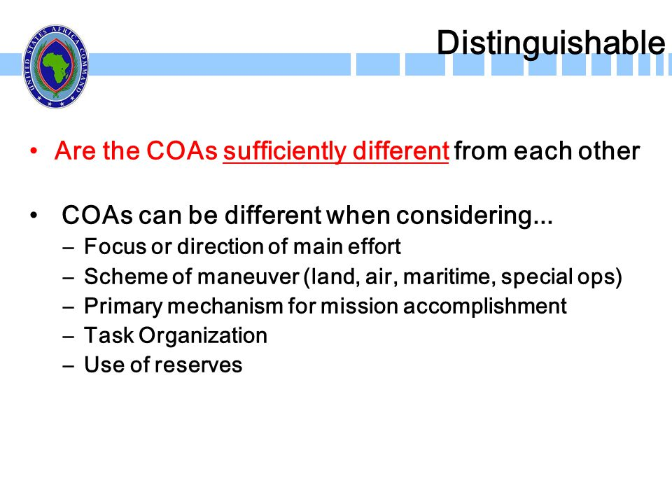 Distinguishable Are the COAs sufficiently different from each other