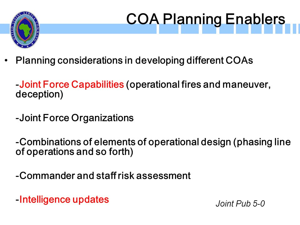 COA Planning Enablers Planning considerations in developing different COAs. -Joint Force Capabilities (operational fires and maneuver, deception)