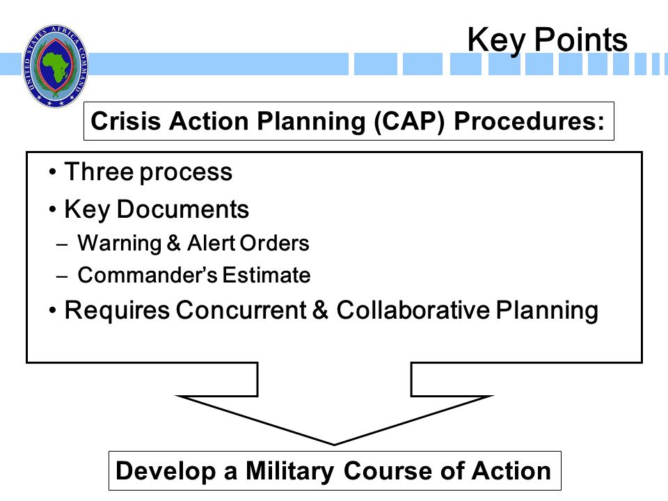 Key Points Crisis Action Planning (CAP) Procedures: Three process