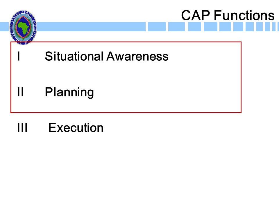 CAP Functions I Situational Awareness II Planning III Execution
