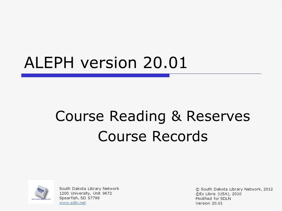 Course Reading & Reserves Course Records
