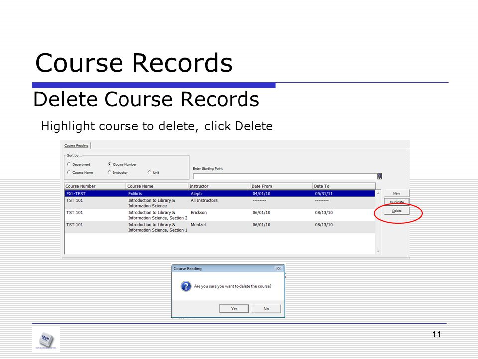 Course Records Delete Course Records