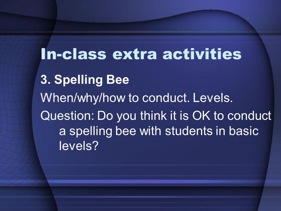 In-class extra activities