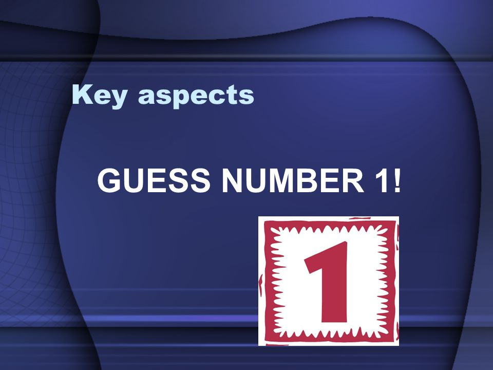 Key aspects GUESS NUMBER 1!