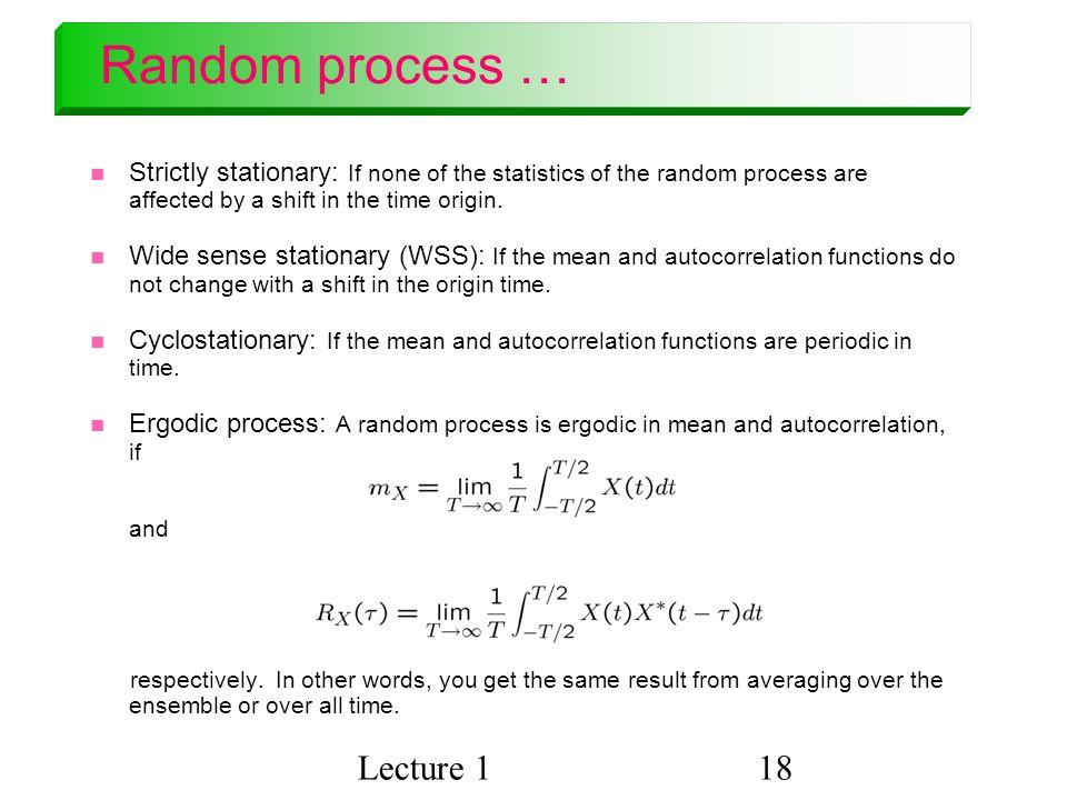 Random process … Lecture 1
