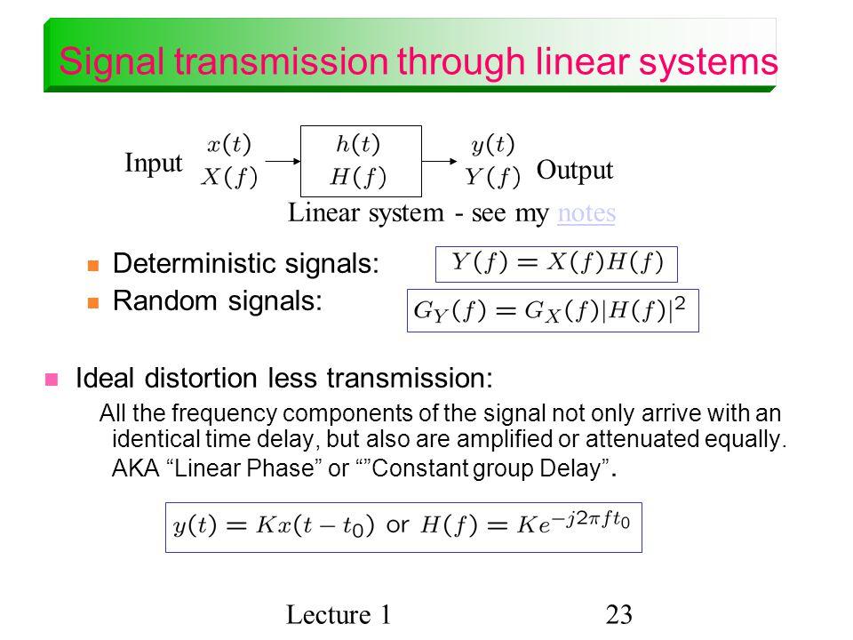 Signal transmission through linear systems