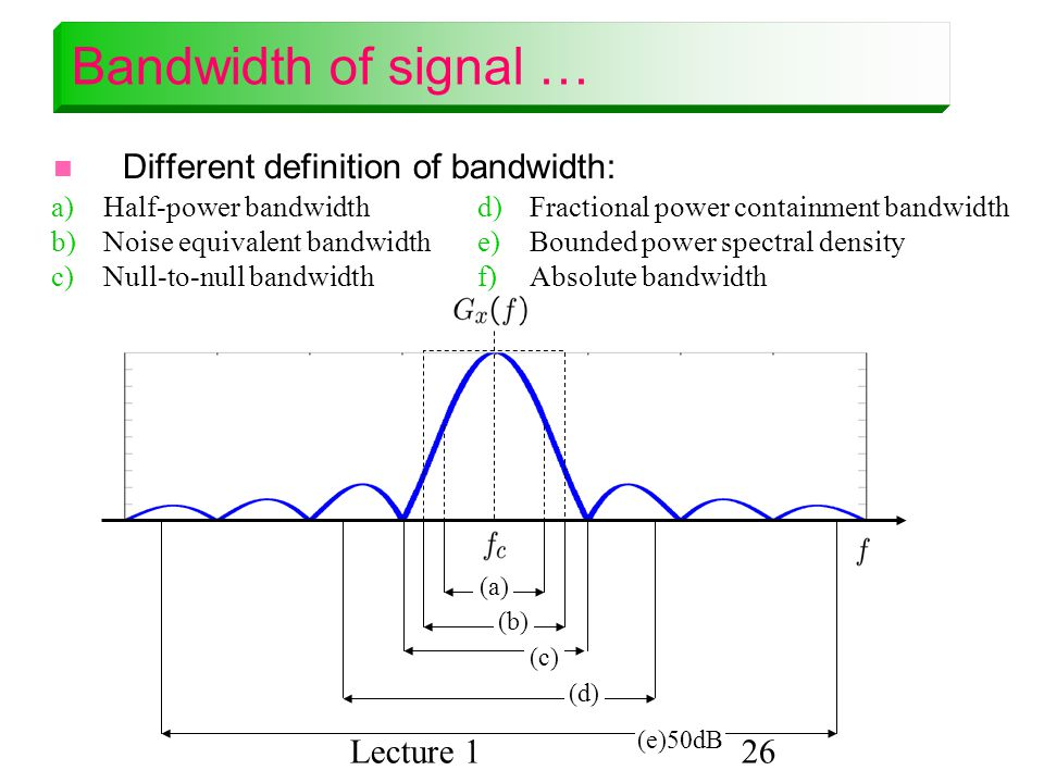 Bandwidth of signal … Different definition of bandwidth: Lecture 1