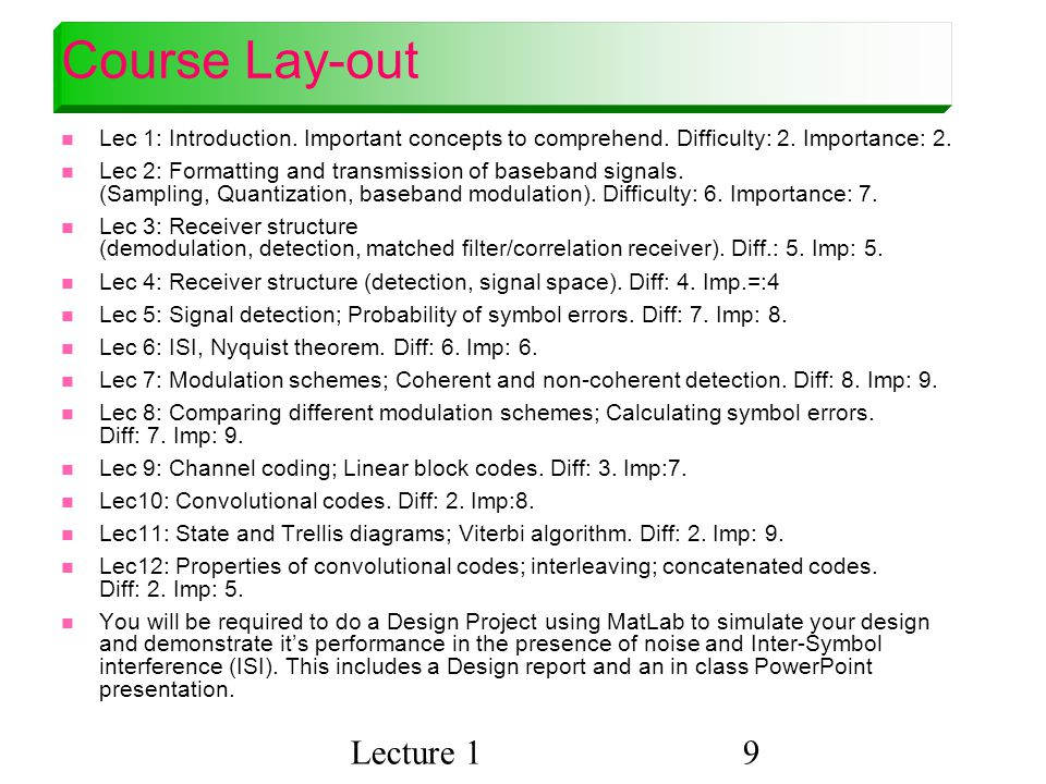 Course Lay-out Lecture 1
