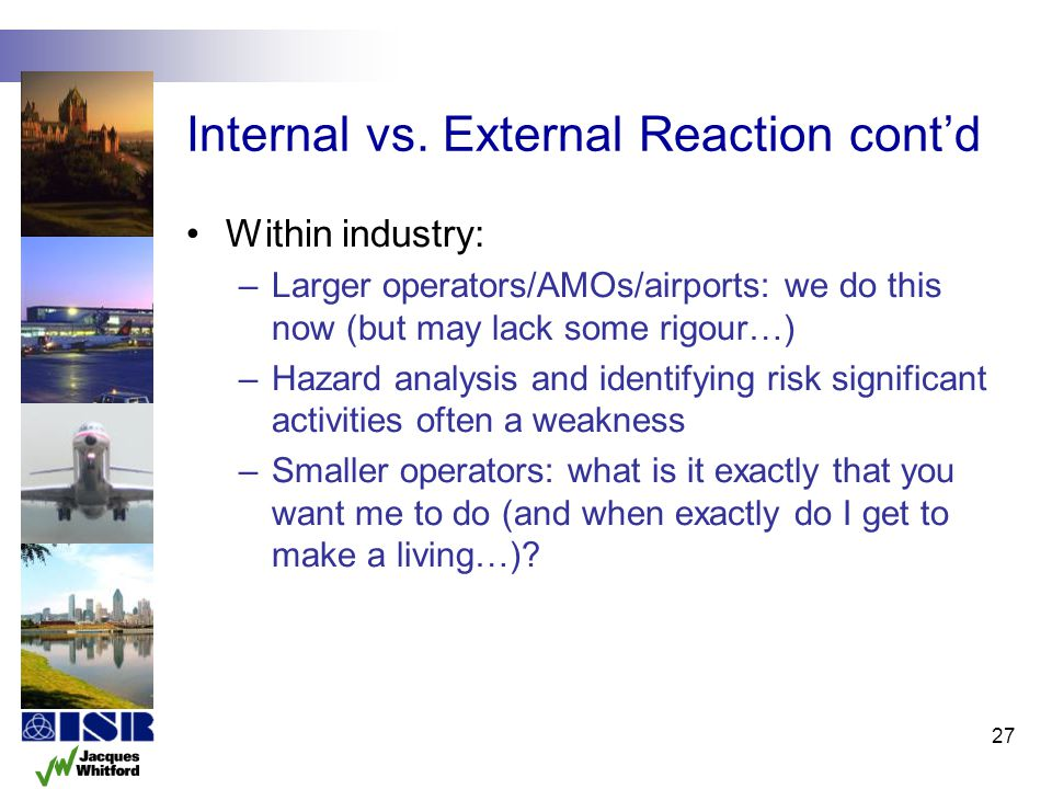 Internal vs. External Reaction cont'd