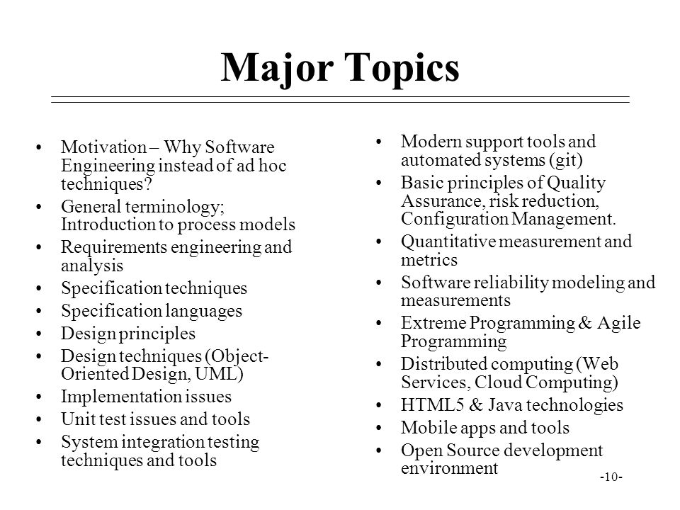 Major Topics Modern support tools and automated systems (git)