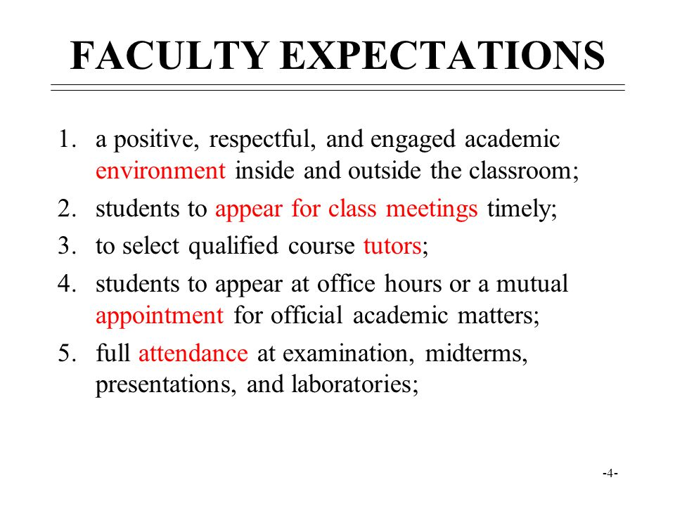 FACULTY EXPECTATIONS a positive, respectful, and engaged academic environment inside and outside the classroom;