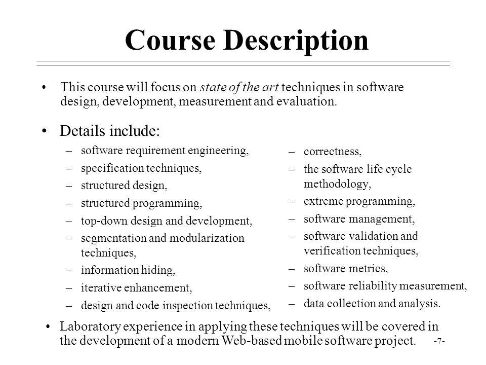 Course Description Details include: