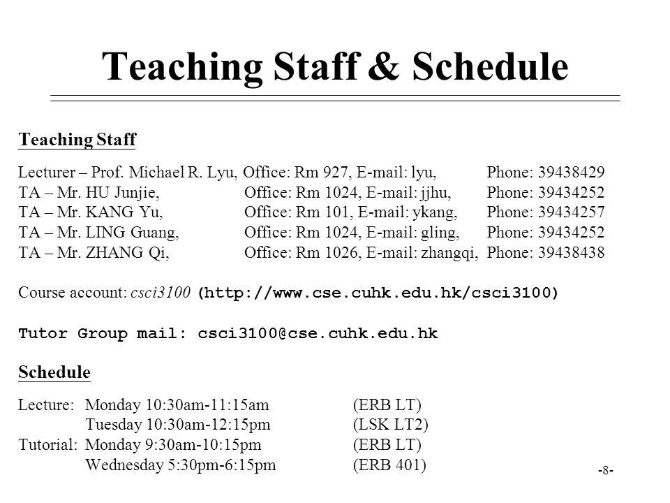 Teaching Staff & Schedule