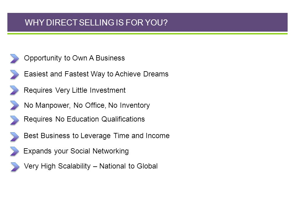 WHY DIRECT SELLING IS FOR YOU