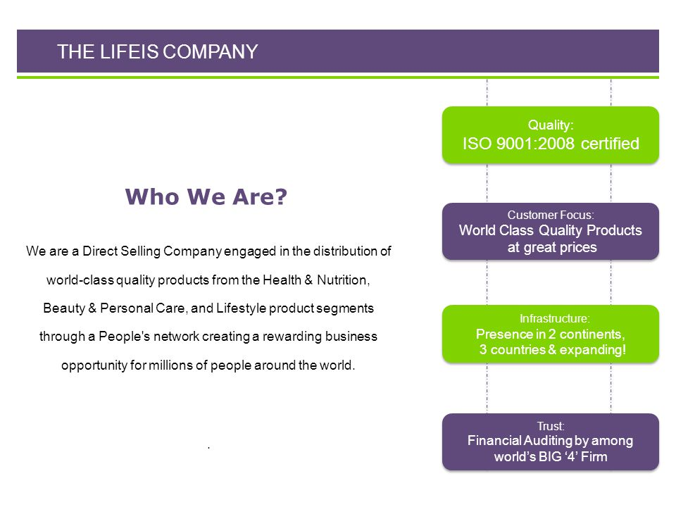 Who We Are THE LIFEIS COMPANY ISO 9001:2008 certified