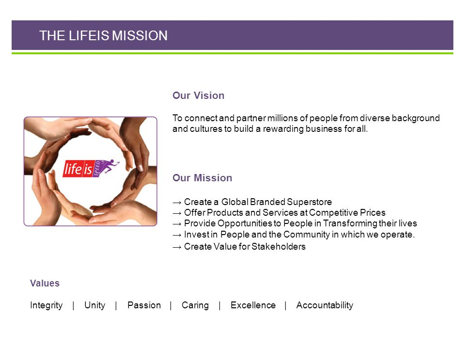 THE LIFEIS MISSION Our Vision Our Mission