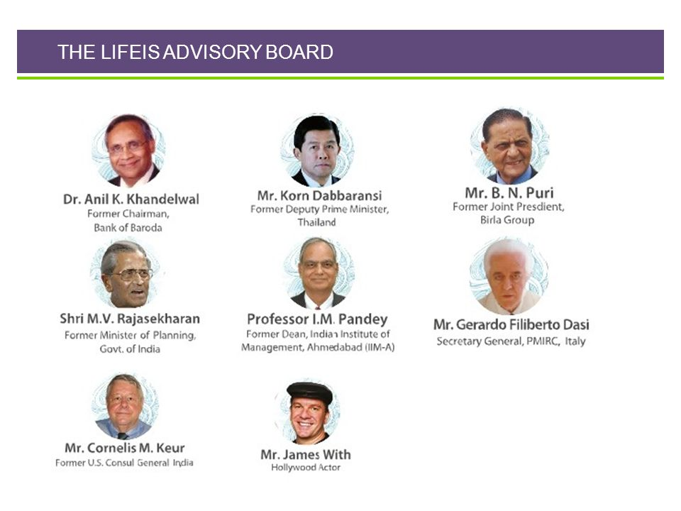 THE LIFEIS ADVISORY BOARD