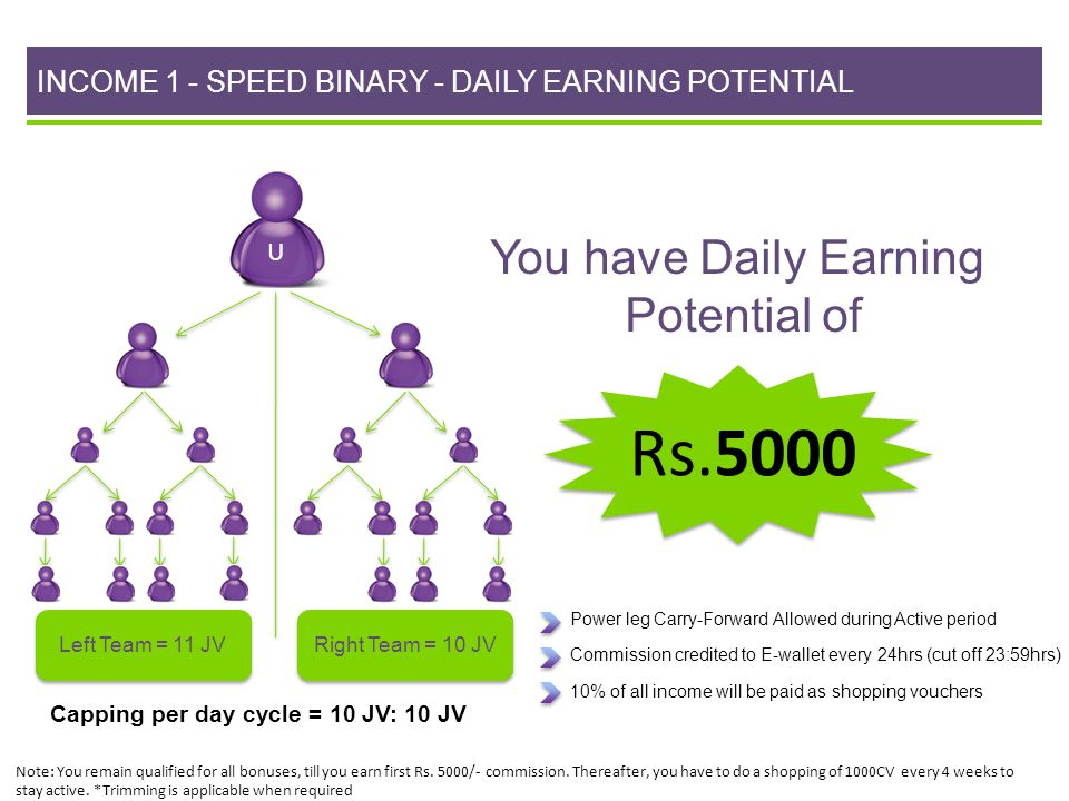 INCOME 1 - SPEED BINARY - DAILY EARNING POTENTIAL