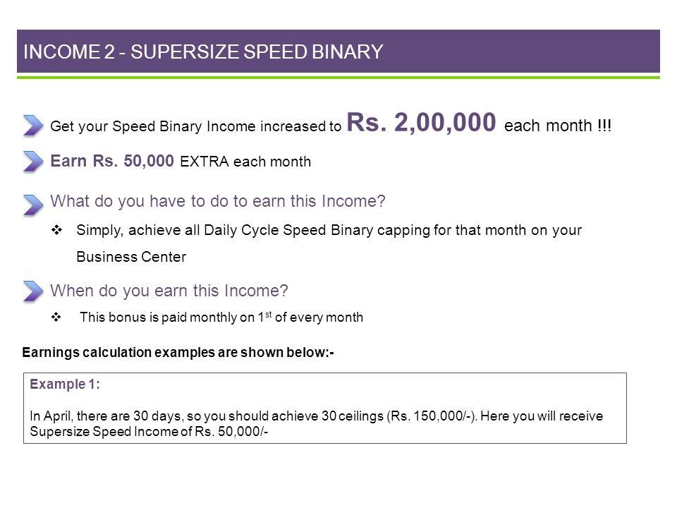 INCOME 2 - SUPERSIZE SPEED BINARY