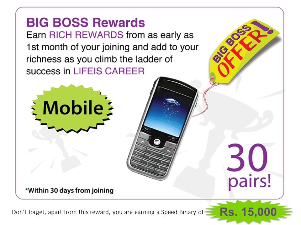 Rs. 15,000 Don't forget, apart from this reward, you are earning a Speed Binary of