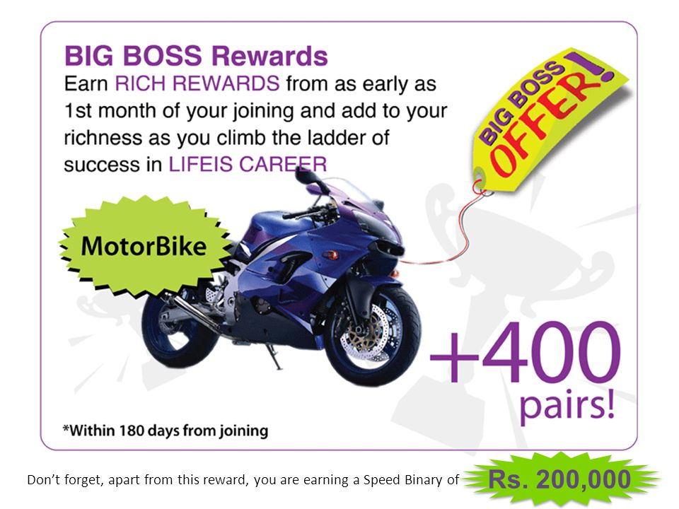 Rs. 200,000 Don't forget, apart from this reward, you are earning a Speed Binary of