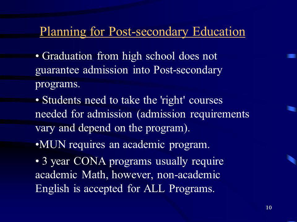 Planning for Post-secondary Education