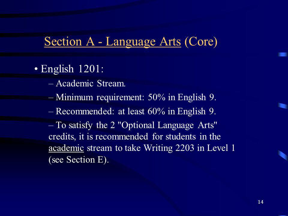Section A - Language Arts (Core)