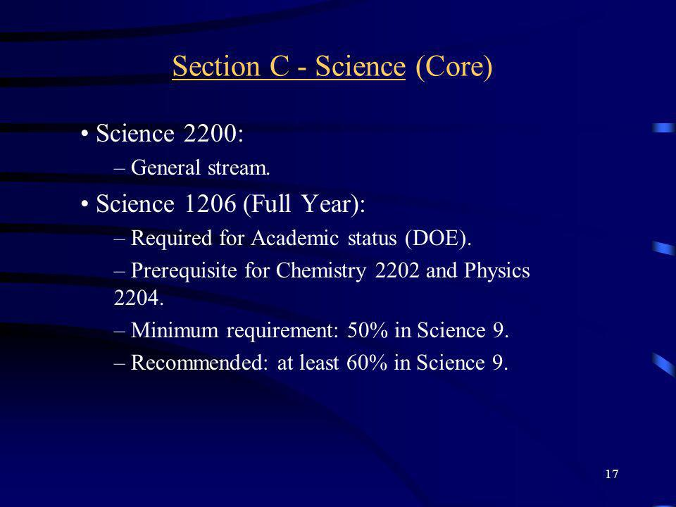 Section C - Science (Core)