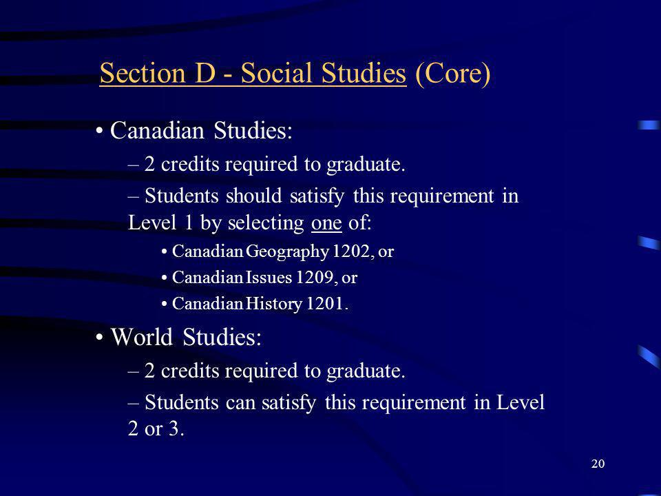 Section D - Social Studies (Core)