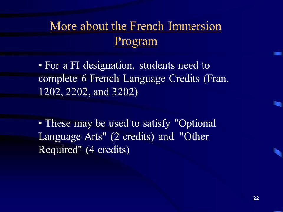 More about the French Immersion Program