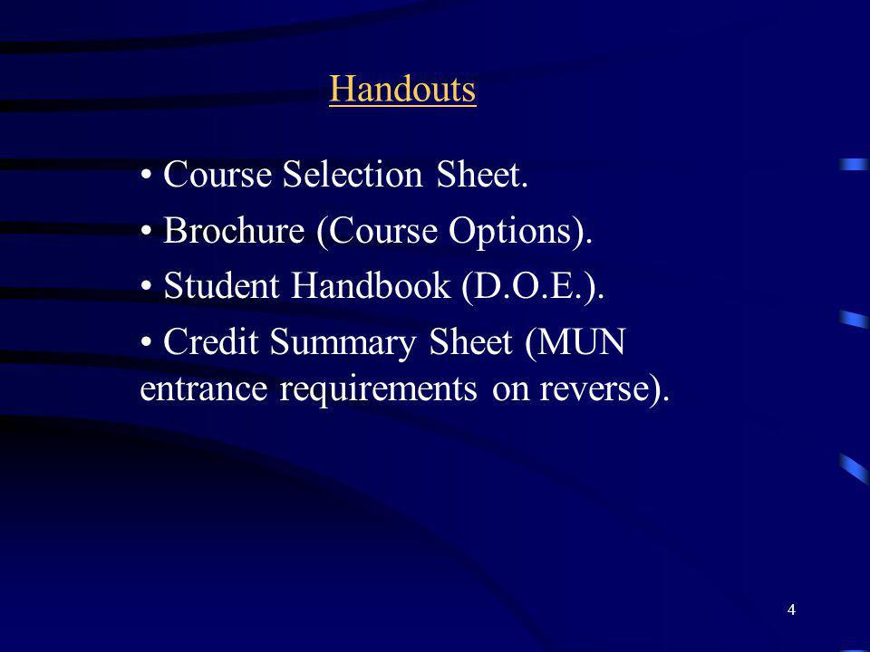 Handouts Course Selection Sheet. Brochure (Course Options). Student Handbook (D.O.E.).