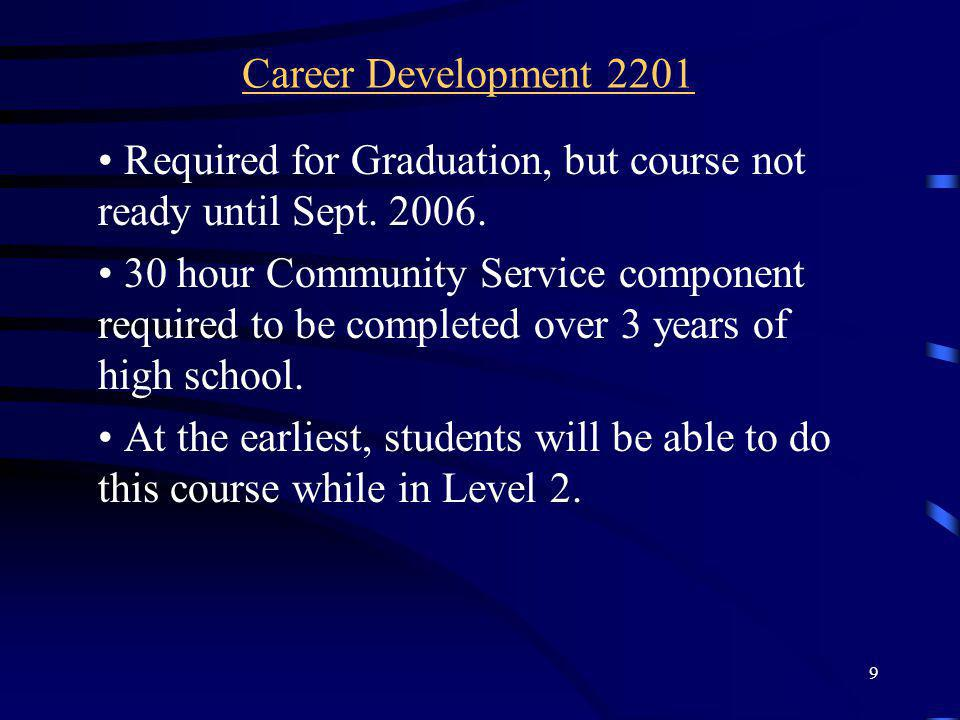 Career Development 2201 Required for Graduation, but course not ready until Sept. 2006.