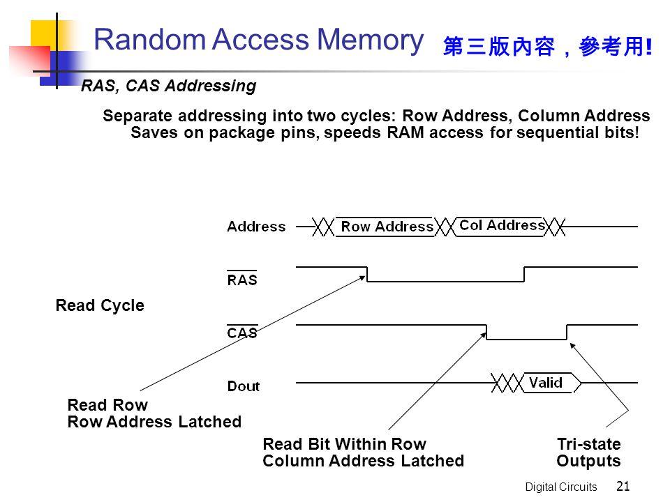 Random Access Memory 第三版內容,參考用! RAS, CAS Addressing