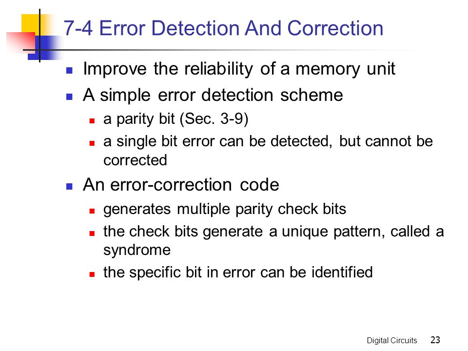 7-4 Error Detection And Correction