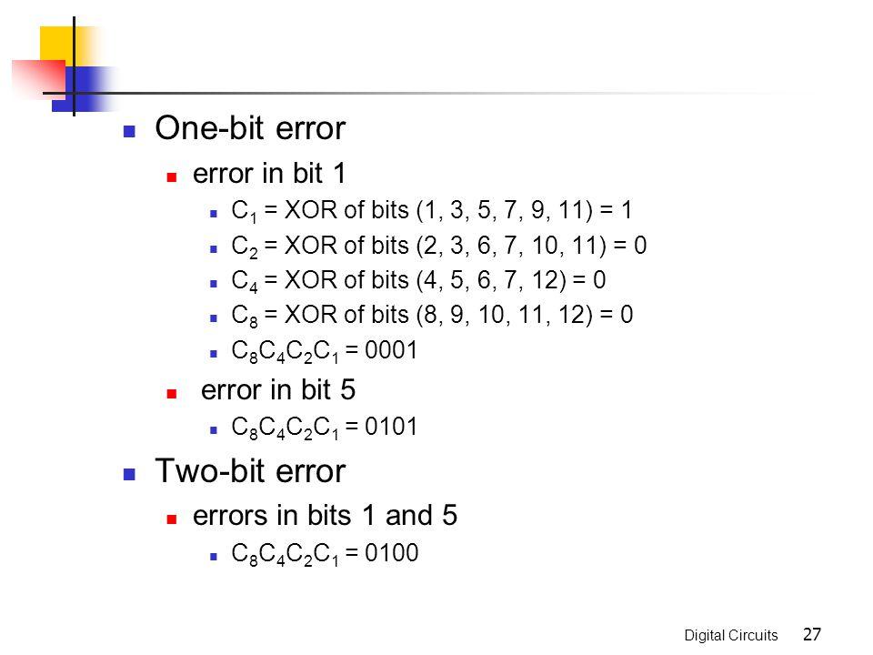 One-bit error Two-bit error error in bit 1 error in bit 5