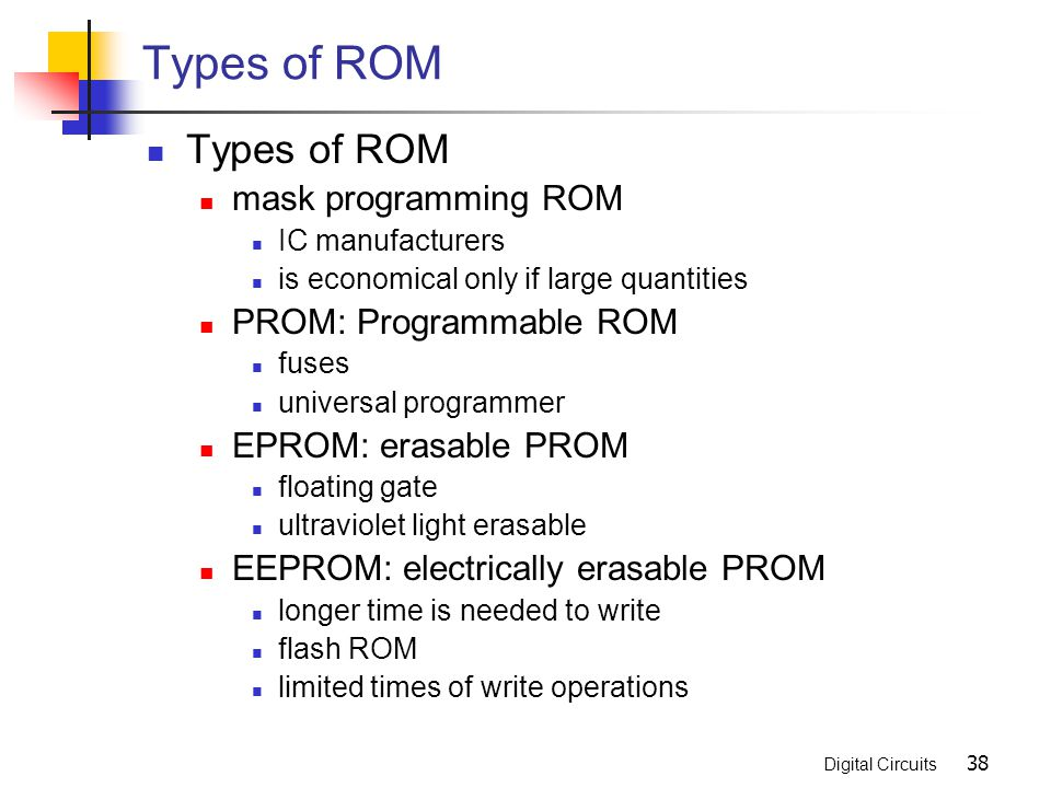 Types of ROM Types of ROM mask programming ROM PROM: Programmable ROM