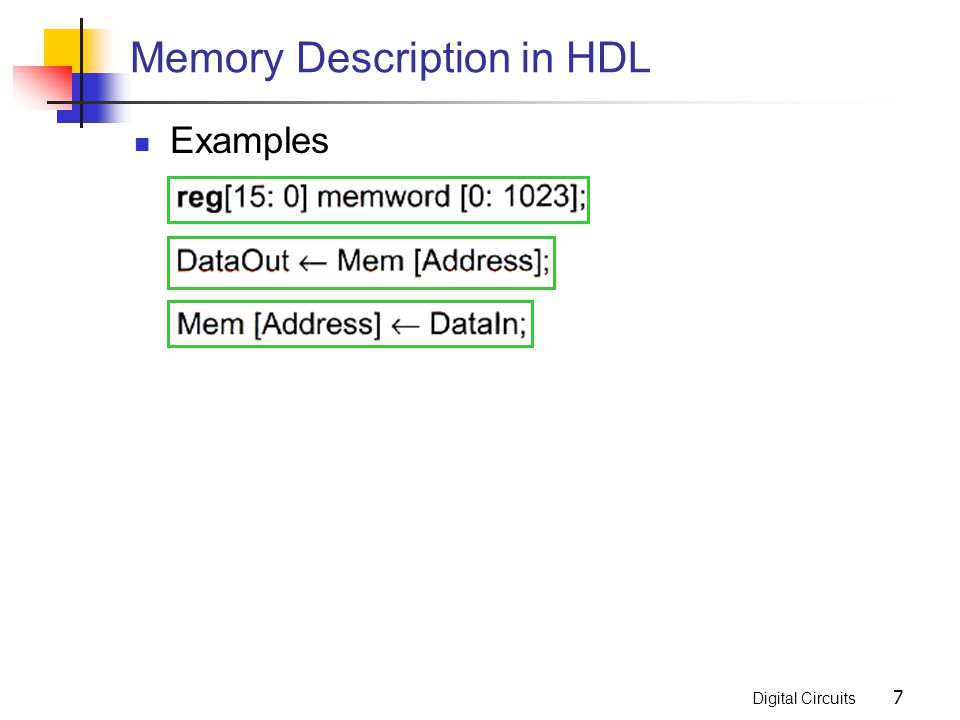 Memory Description in HDL