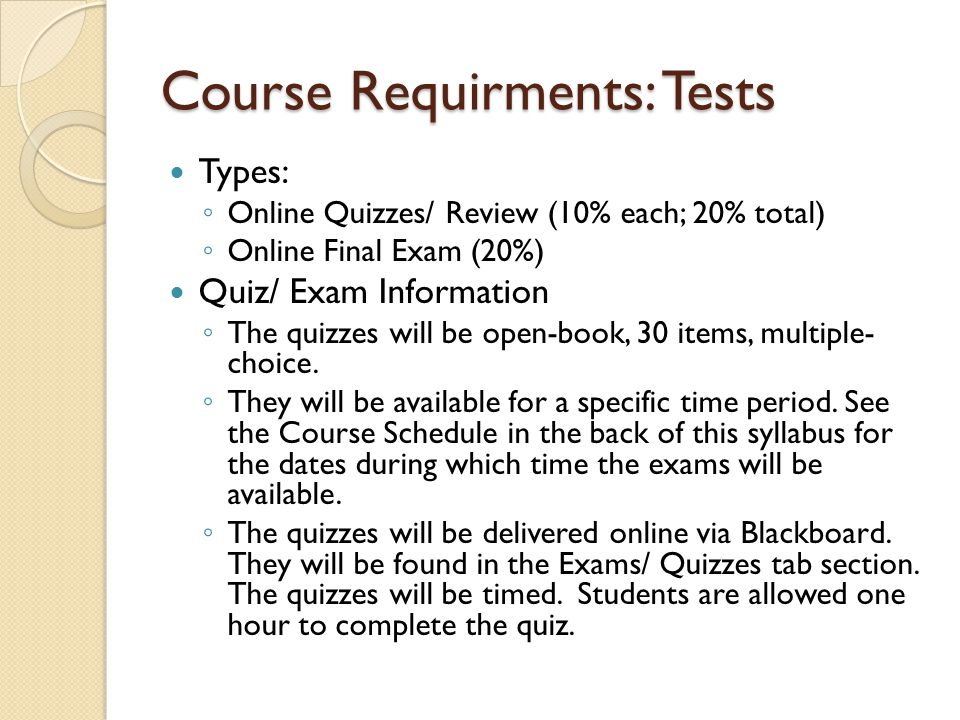 Course Requirments: Tests