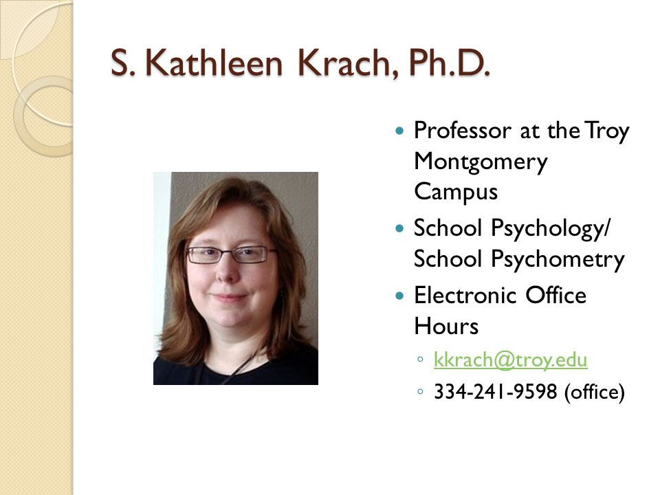 S. Kathleen Krach, Ph.D. Professor at the Troy Montgomery Campus